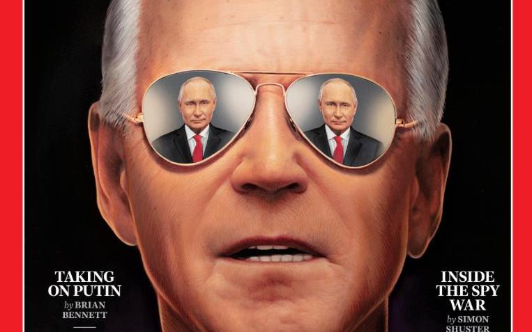 Time поместил на обложку отражение Путина в очках Байдена